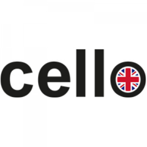 cello text in black with british flag inside the letter o, british technology, british made TV