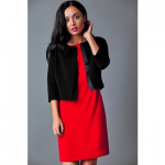 british luxury womenswear woman wearing red dress with black short jacket and touching her neck