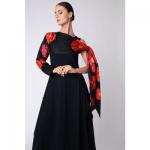 british luxury womenswear bianca elgar model wearing long black dress