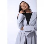Womenswear by zalinah white model in grey overcoat