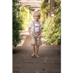 little cloth shop childrenswear boy in shorts on path