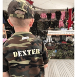 british childrenswear boy in army cap and t shirt by little hero kidswear