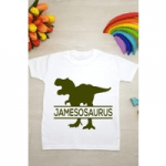 all about the bump personalised t shirt with dinosaur