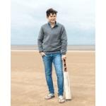 bonnie uk boy wearing grey knitted jumper on beach with cricket bat