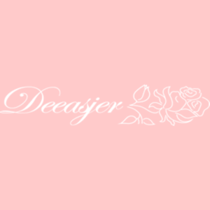 deeasjer text logo with rose detail