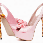 luxury pink high heel deeasjer shoes with rose