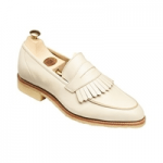crockett and jones womens cream tassle loafer shoe