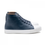 mens shoes made in britain category image showing a pair of navy and white high top trainers by crown shoes