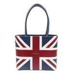british designer handbags, category image showing an isabella queen hand bag british flag design on white background