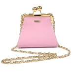 british designer handbags, category image showing an isabella queen pink puse bag with gold chain handle on white background