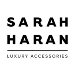 british made bags and accessories category image showing sarah haran luxury accessories black text logo on white backgrouns