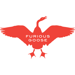 british made bags and accessories category image showing a red goose logo with furious goose text