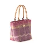 british designer handbags, category image showing a pink tweed shopper bag by umpie