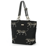 british designer handbags, category image showing a black dhopper bag with cheetah print by umpie bags