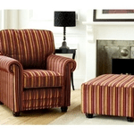 british made furniture, category image showing a striped chair and foot stool made by the english interiors furniture company