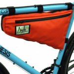 british made sports and outdoor equipment category image showing red bike bag attached to bike made by aguille