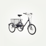british made bikes category image showing a tricycle with basket on the back by pashley