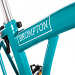 british made bikes category image showing a turquoise bromton bicycle frame