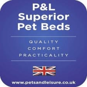 luxury dog beds category image showing p and l superior pet beds logo with british flag on blue background dog beds made in britain,