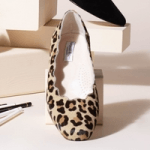 british made womens shoes category image for sargasso and grey shoes showing leopard print womans slip on shoe on a display stand