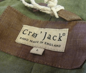 cro'jack clothing label, hand made in england