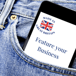 feature your business, advertise with made in great britain, made in the uk, manufacturers in uk, pair of british made denim jeans with mobile phone in pocket sticking out with british flag logo and feature your british business to advertise on made in great britain website, manufacturers in uk