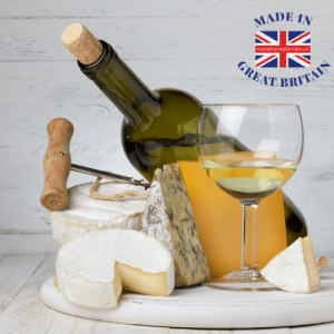 food and drink, wine and chees board, made in britain