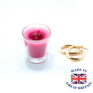 candle and earrings, gifts and jewellery, made in britain