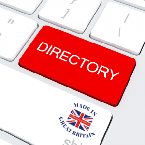 made in the uk, british business directory, keyboard directory, manufacturers in uk, buy british campaign, white keyboard withh red directory button and british flag logo,