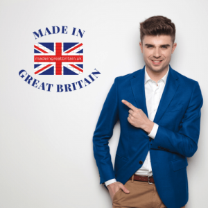 uk business directory, man in blue jacket pointng, british clothing brands, uk made, made in great britain
