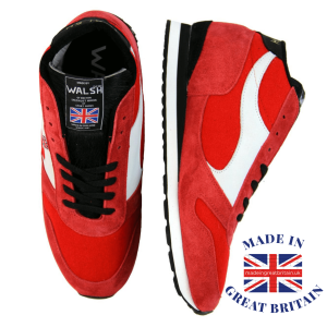 british made trainers, flash scores, football trainers, premier league football, live footy scores, a pair of red norman walsh made in bolton trainer sneakers