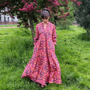 justine tabak, woman in floral pink summer dress, british made women's clothing, women's clothes made in britain, uk women's clothing