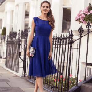 alie street, woman in blue occasion dress, made in britain, british made women's clothing, uk women's clothing, women's clothes made in britain