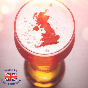 best british lager brands, pink of lager with british map island in froth, made in britain, made in britain blog,