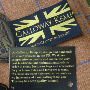 galloway kemp, british and scttish made handbags, made in great britain, british flag label, handcrafted in britain