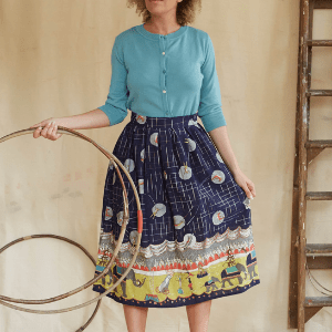 palava, woman in vintage style skirt, vintage inspired clothing, british made women's clothes, women's clothing made in britain