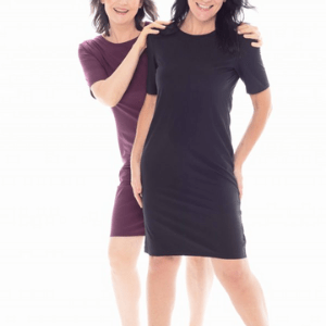 esteem no pause, two women in t shirt dresses, menopausal women's clothing