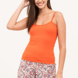 pj pann, luxuey british pyjamas, woman in paisley pyjama shorts and orange vest top, british made women's clothes