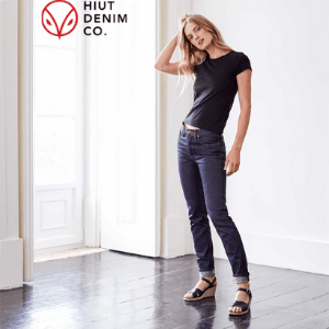 hiut denim, british made women's clothing, blonde young woman in skinny jeans