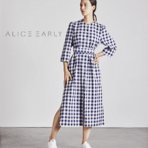 alice early, sustainable women's clothes, woman in long check dress, british made women's clothing, women's clothes made in britain