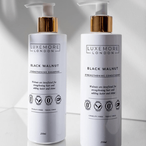 luxemore london, 2 bottles of haircare products straigntening shampoo and conditioner for afro curly hair, made in britain