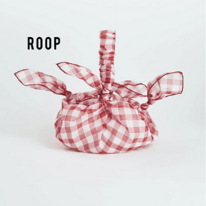 gingham red and white tie bag by roop with white background, made in great britain