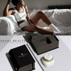 novel beauty and skincare, black young woman in white underwear laid on sofa with white cover and beauty products in foreground placed on a table, made in great britain