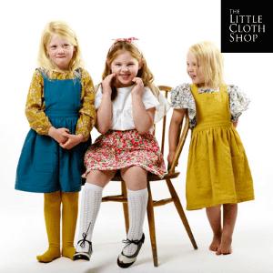 the little cloth shop, vintage inspired girls dresses, 3 little girls in pretty dresses, british made kidswear, british kidswear brands
