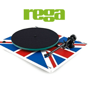 record player turntable with british flag union jack style and rega logo on white background, british audio brands, british hifi brands