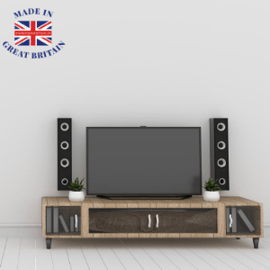 british audio brands, british made speakers, british made tv, british hifi brands, home entertainment system in a room with plain background, mad in great britain