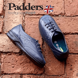 padders shoes, pair of blue women's padders shoes against a brick wall background, british made women's shoe brand,