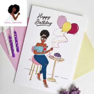 uk black owned businesses, birthday card featuring woman of colour, black greeting cards