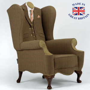 rhubarb charirs, bespoke luxury chairs and seating, tweed chair, luxury tweed chair, chair made to look like someone is sitting in it with suit jacket and tie