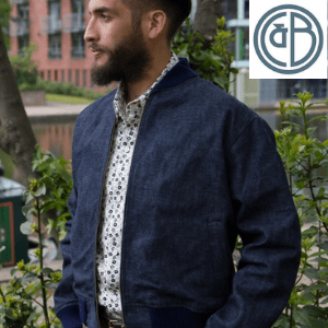 ethical and sustainable men's clothing made in uk, man wearing indigo blue jacket made in britain, men's clothes made in britain,